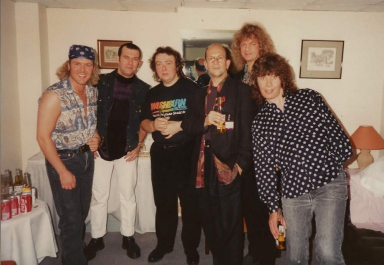 The Hard Rock Café 'Allstar Band' – (L to R) JT, Jimmy Barnes, Bernie Marsden, Chris Thompson, Neil Murray & Don Airey – London 1994
